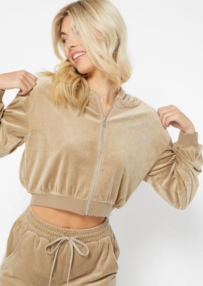 taupe rhinestone baby girl velour full zip crop hoodie - Main Image