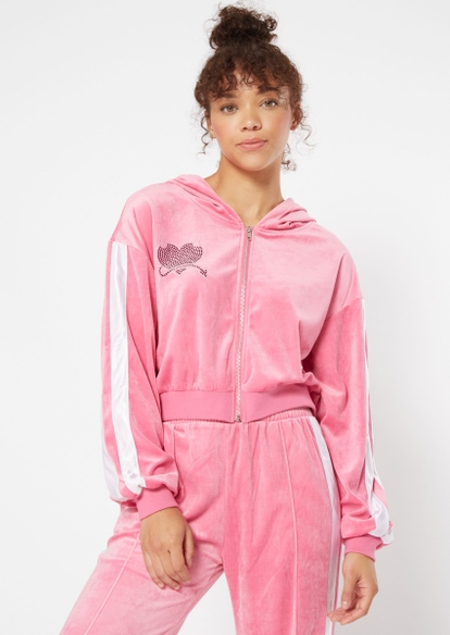pink rhinestone devil heart velour zip hoodie - Main Image