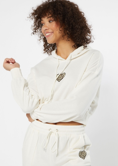 ivory leopard heart embroidered crop hoodie - Main Image