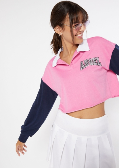 pink color block angel embroidered polo pullover - Main Image