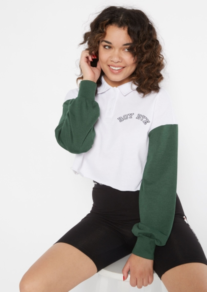 green colorblock boy bye embroidered polo pullover - Main Image