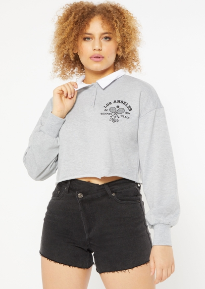 heather gray tennis club embroidered polo pullover - Main Image