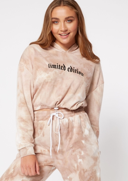 taupe tie dye limited edition dragon graphic bungee hoodie - Main Image