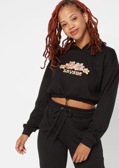 black savage embroidered bungee hem hoodie - Main Image