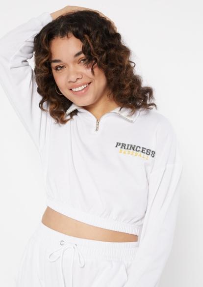 white baseball princess embroidered half zip pullover - Main Image