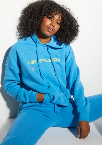 blue see you never graphic hoodie - Main Image