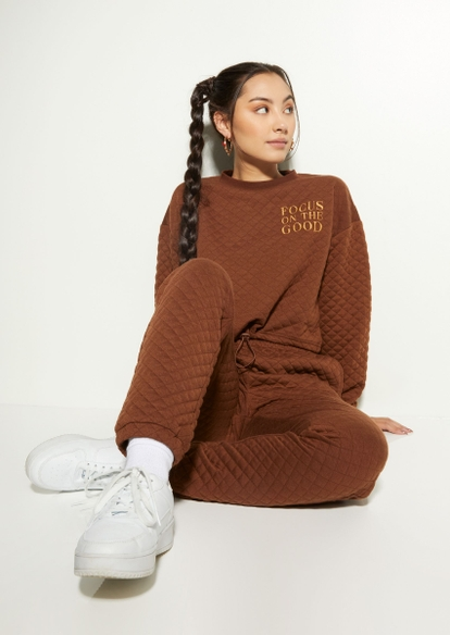 brown quilted focus embroidered bungee toggle sweatshirt - Main Image