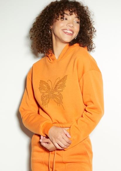 orange rhinestone butterfly crop hoodie - Main Image