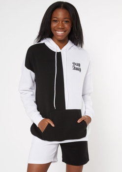 black two tone contrast stay away embroidered boyfriend hoodie - Main Image