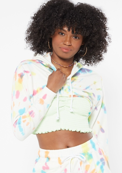 pastel rainbow tie dye swirl extreme crop hoodie - Main Image