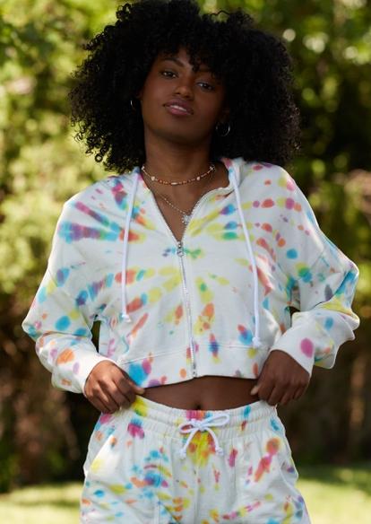 pastel rainbow tie dye swirl crop zip hoodie - Main Image