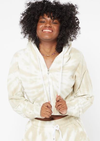 taupe tie dye swirl crop zip hoodie - Main Image