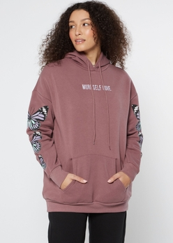 mauve butterfly embroidered boyfriend hoodie - Main Image