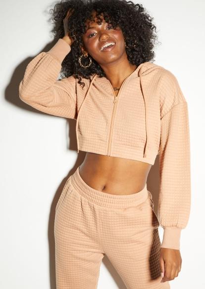 honey brown quilted zip up crop hoodie - Main Image