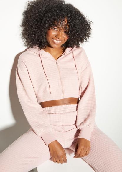 light pink quilted zip up crop hoodie - Main Image
