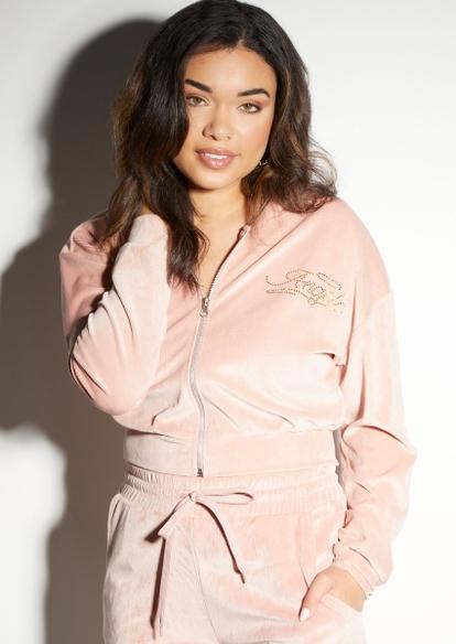 light pink angel rhinestone ribbed velour zip up hoodie - Main Image