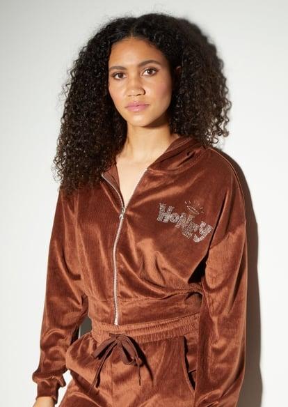 brown halo honey rhinestone ribbed velour zip up hoodie - Main Image