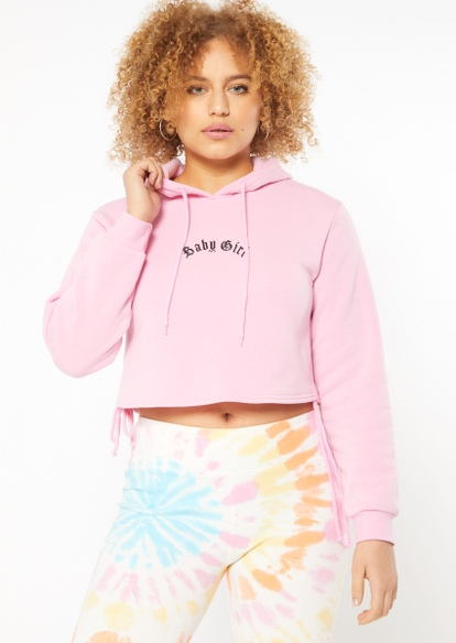 pink baby girl embroidered ruched side crop hoodie - Main Image