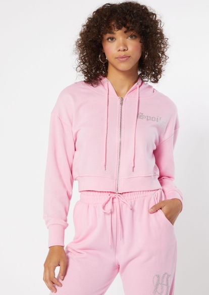 pink rhinestone spoiled french terry zip up crop hoodie - Main Image