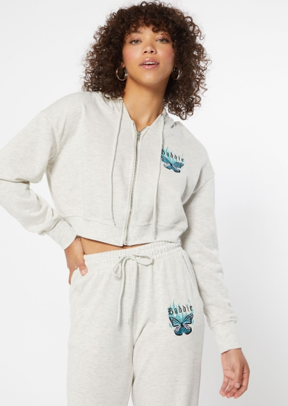 heather gray french terry baddie butterfly zip up crop hoodie - Main Image