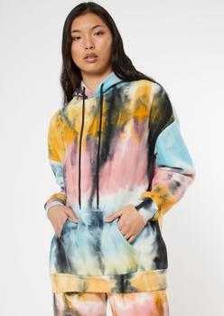 tie dye zip up boyfriend hoodie - Main Image