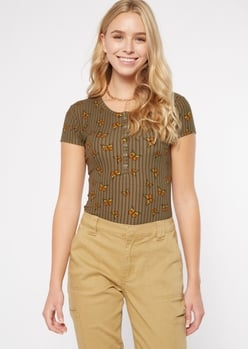 olive butterfly print ribbed henley bodysuit - Main Image