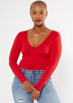 red deep v neck long sleeve super soft bodysuit - Main Image