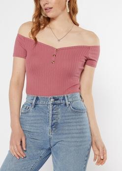 pink button down bodysuit - Main Image