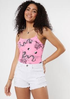 pink dragon print x back super soft bodysuit - Main Image