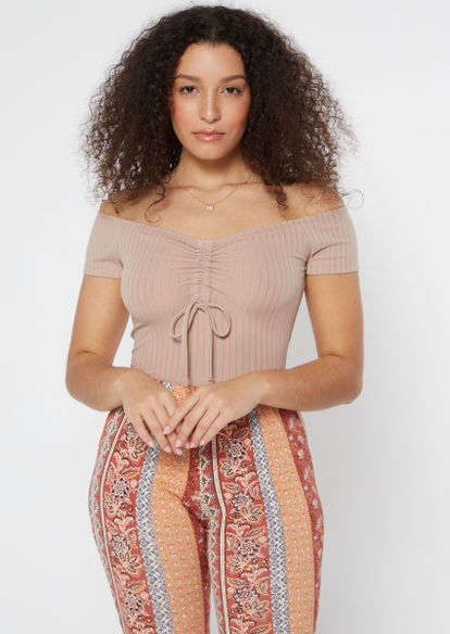 taupe ruched chest bodysuit - Main Image