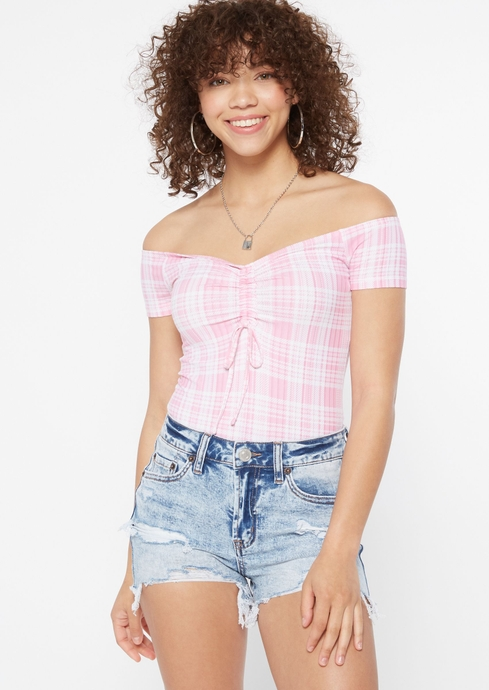 PLAID RUCHED FRONT OTS placeholder image