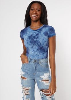 blue tie dye super soft bodysuit - Main Image