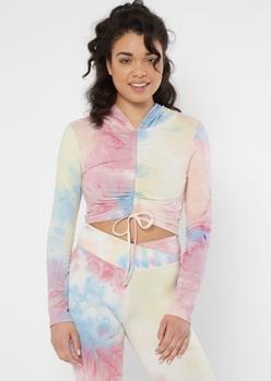 pastel tie dye ruched active hoodie crop top - Main Image