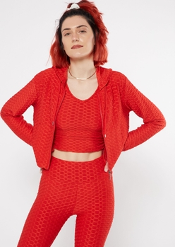 red honeycomb cropped zip up hoodie - Main Image
