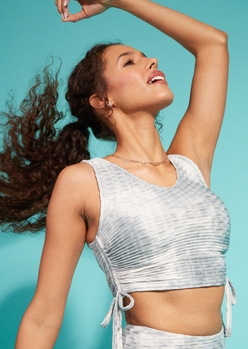 gray tie dye honeycomb ruched crop top - Main Image