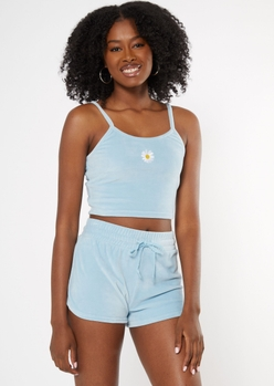 light blue embroidered daisy velour tank top - Main Image