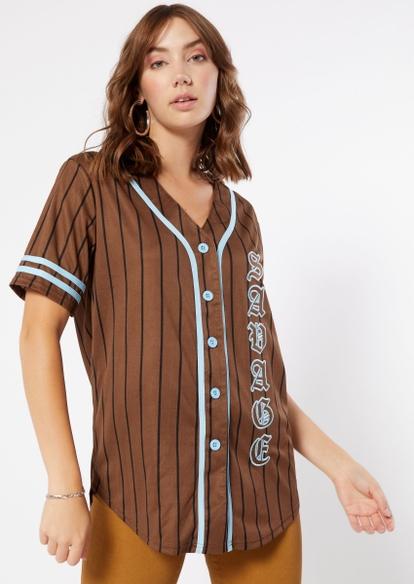 brown pinstripe savage graphic baseball jersey - Main Image