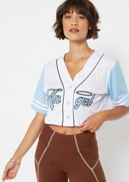 blue angel embroidered crop baseball jersey - Main Image