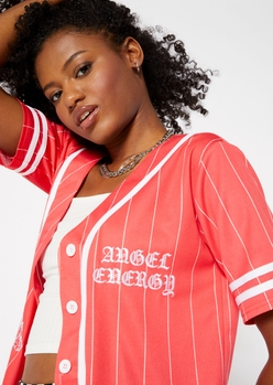 coral pink angel energy embroidered baseball jersey top - Main Image