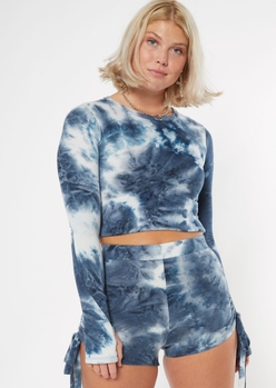 navy blue french sleeve crop top - Main Image