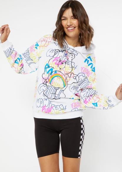 white care bear graffiti print graphic hoodie - Main Image