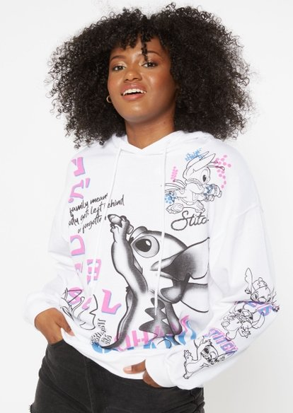 white stitch graffiti print graphic hoodie - Main Image