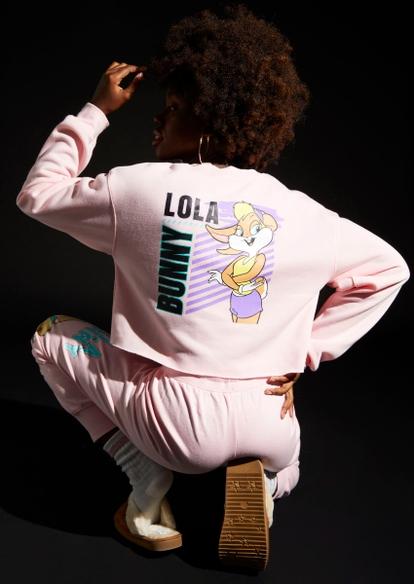 light pink lola bunny graphic crop sweater - Main Image