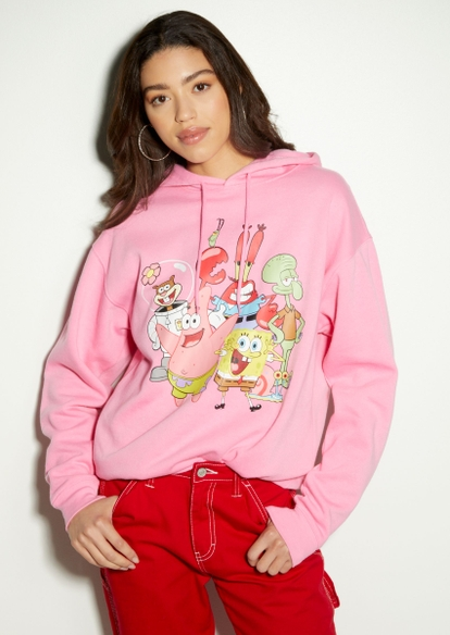 pink spongebob squad graphic hoodie - Main Image