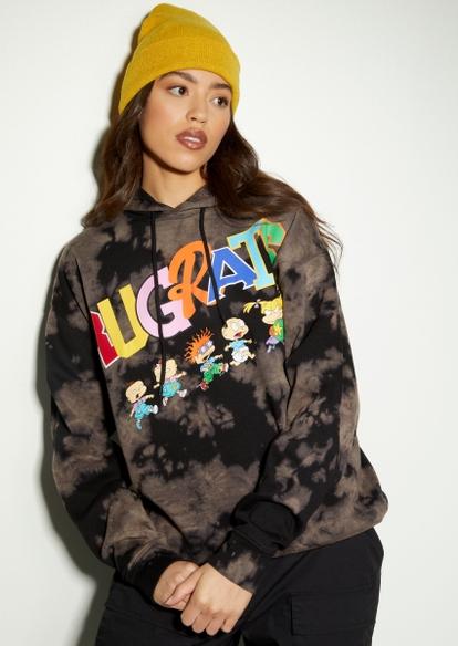 black bleach wash rugrats run graphic hoodie - Main Image