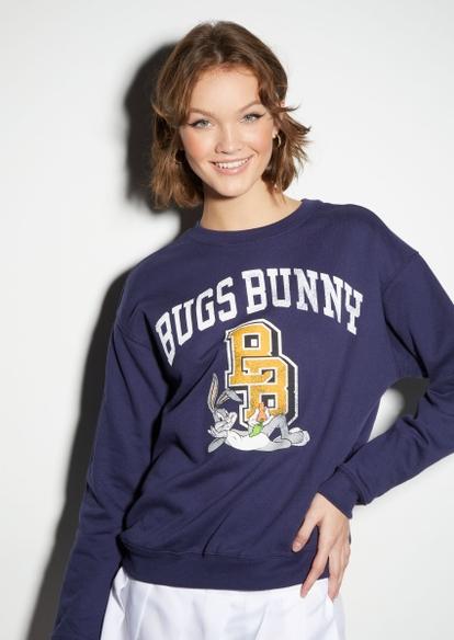 navy bugs bunny varsity graphic sweatshirt - Main Image