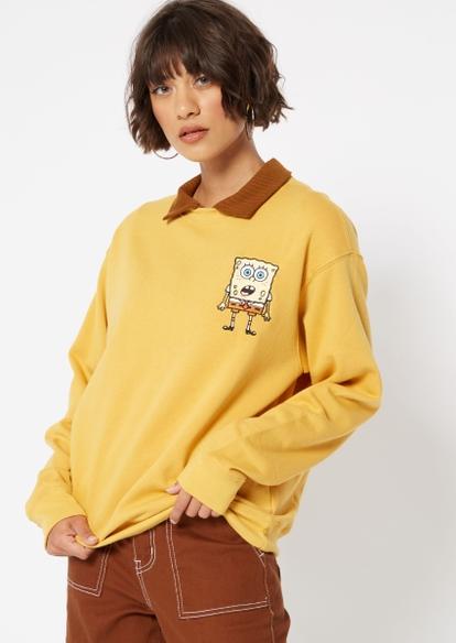 mustard yellow spongebob embroidered crewneck - Main Image