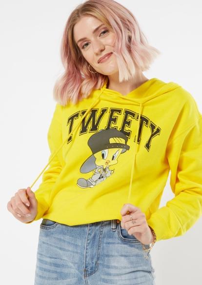 yellow tweety bird varsity graphic hoodie - Main Image