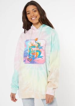 pastel tie dye dragon graphic hoodie - Main Image