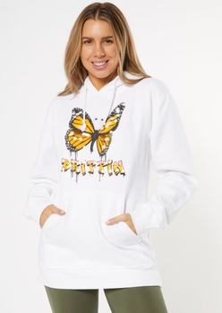white drippin gold butterfly graphic hoodie - Main Image